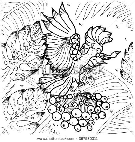 cockatoo parrot coloring page of exotic tropical bird flying among palm tree leaves in jungle forest