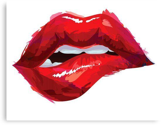 Lip Bite Canvas Print by Boscar