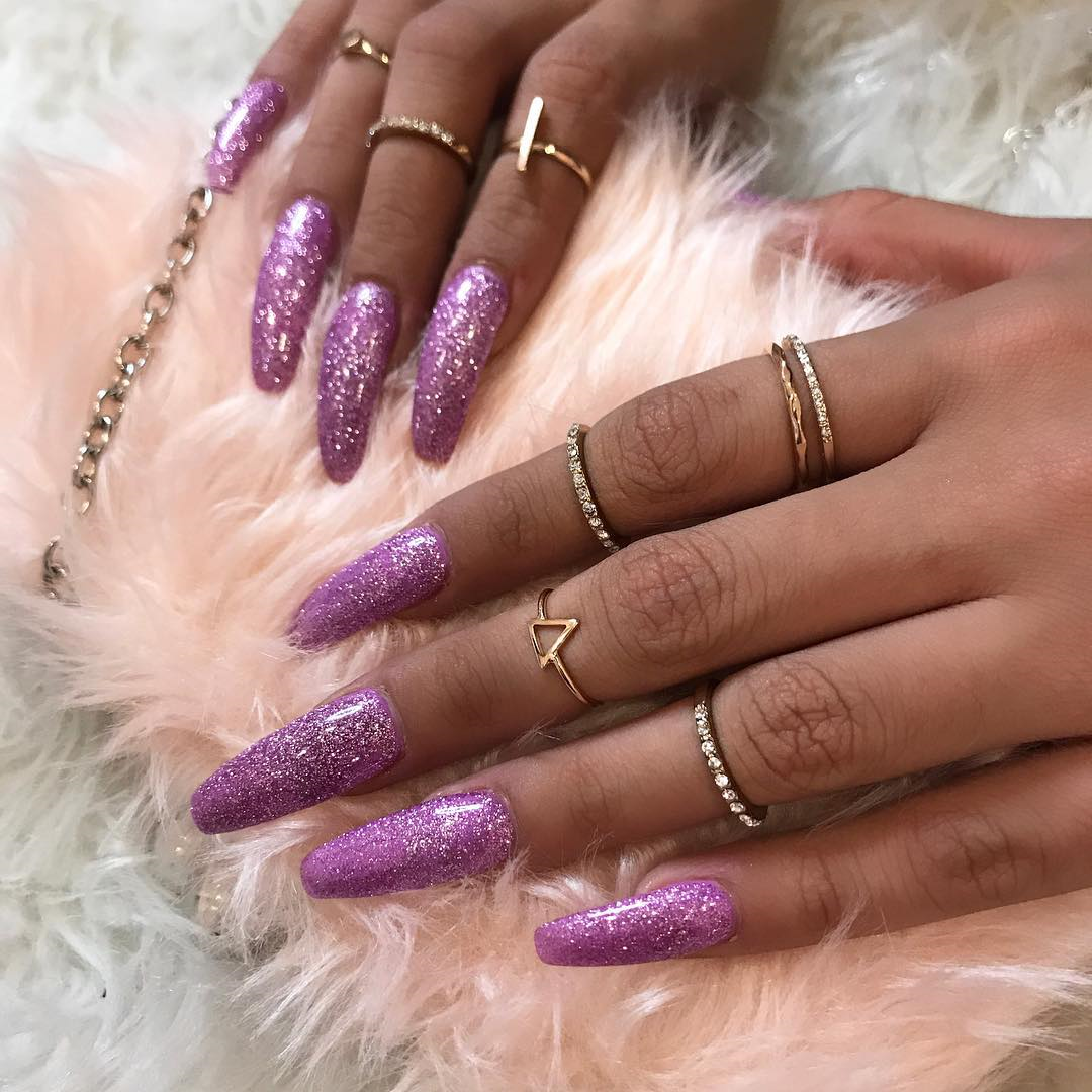Long pink glitter coffin nails | Nails | Pinterest | Coffin nails ...