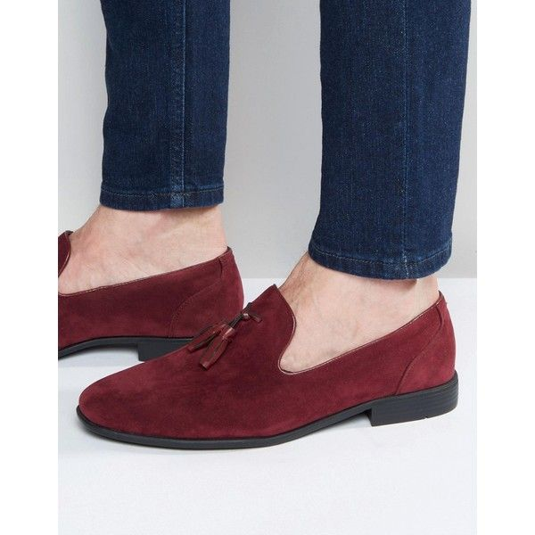 7e99ae1d4a4 ASOS Tassel Loafers in Burgundy Faux Suede ( 38) ❤ liked on Polyvore  featuring men s
