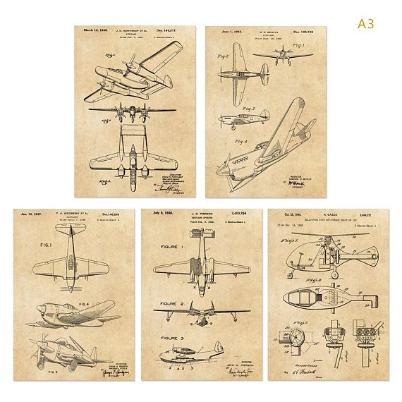 Vintage patent art Group 2 world war II Airplane poster or airplane ...