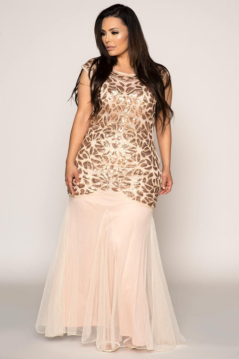 Fit and flare mermaid hand embroidered evening gown dress in