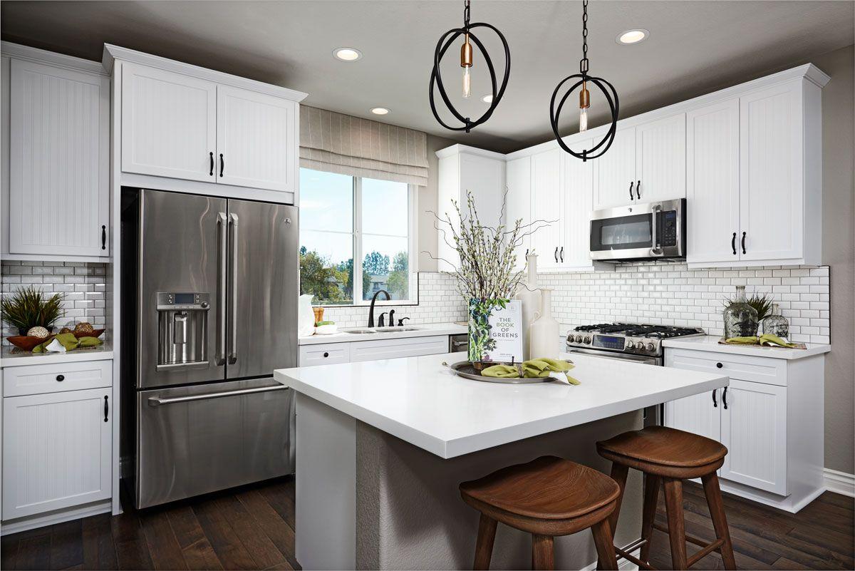 Subway tile & modern pendant lighting! | Elena model home kitchen ...