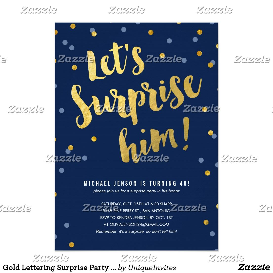 Gold Lettering Surprise Party Invitations For Him Zazzle Com Surprise Birthday Party Invitations Surprise Birthday Invitations Surprise Party Invitations