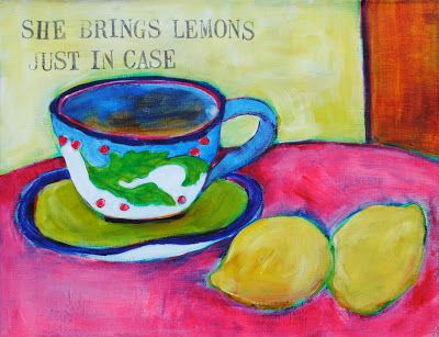 Tea pots and tea has often been a subject of my paintings.  My sister always brings lemons for her tea and I love pretty tea pots.  So, I guess these two are kind of a family portrait.    These are 11 x 14 acrylic on canvas paintings.    my name is bonnie taylor talbot and ipaintpictures    Please enjoy.