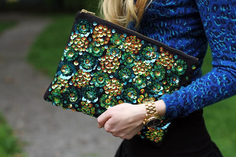 sequined ASOS clutch