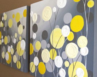 Wall art yellow grey flowers and birds textured acrylic painting wall art yellow grey flowers and birds textured acrylic painting on canvas set of two 18x24 made to order mightylinksfo