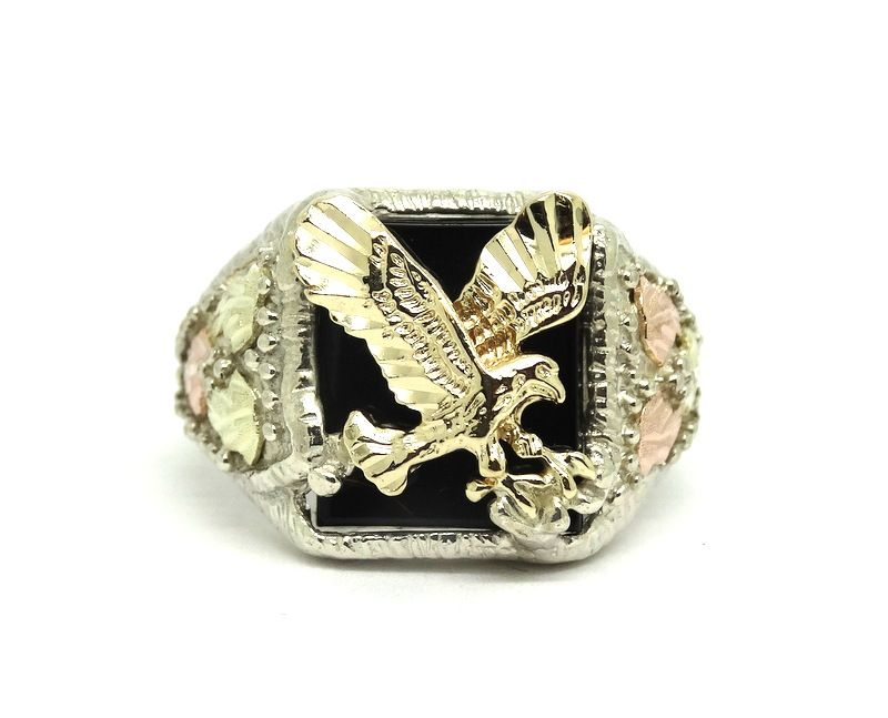 2829adc5711dd Mens Biker EAGLE Ring 10K BLACK HILLS GOLD & 925 Sterling Silver ...