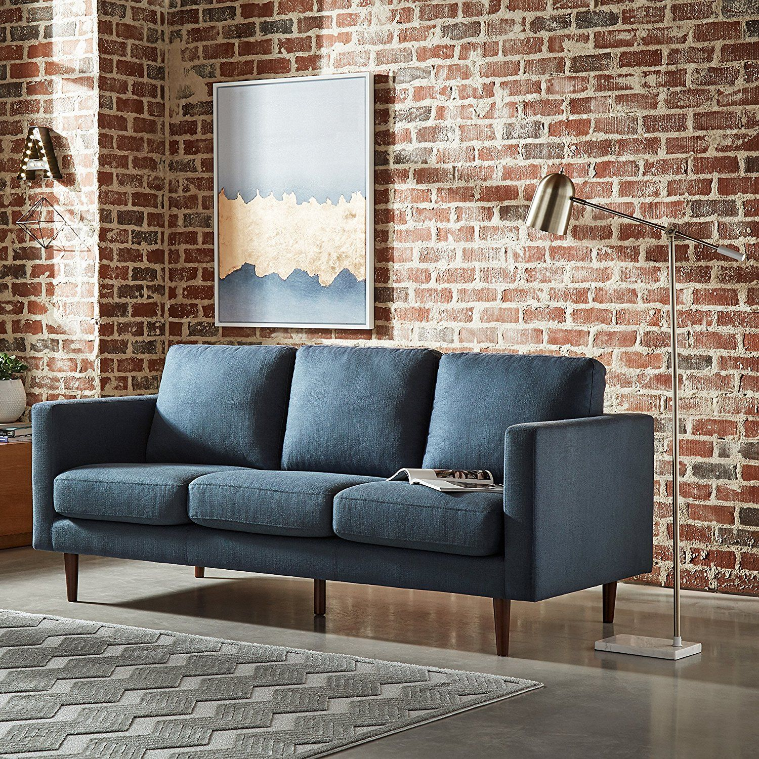 Amazoncom Rivet Revolve Modern Sofa, 80 W, Denim Kitchen