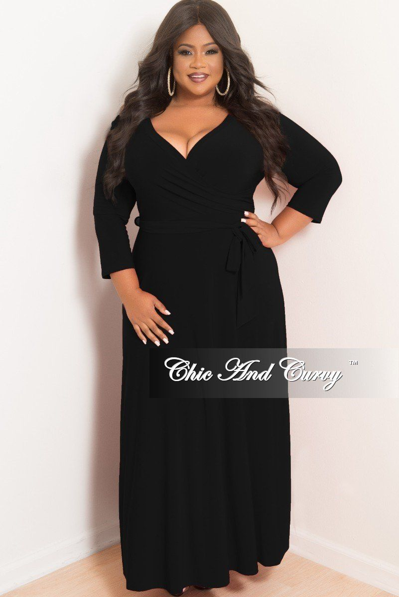 Plus Size Faux Wrap Maxi With 3 4 Sleeve And Attached Tie In Black Chic And Curvy Chic And Curvy Dresses Wrap Dress Formal [ 1200 x 801 Pixel ]