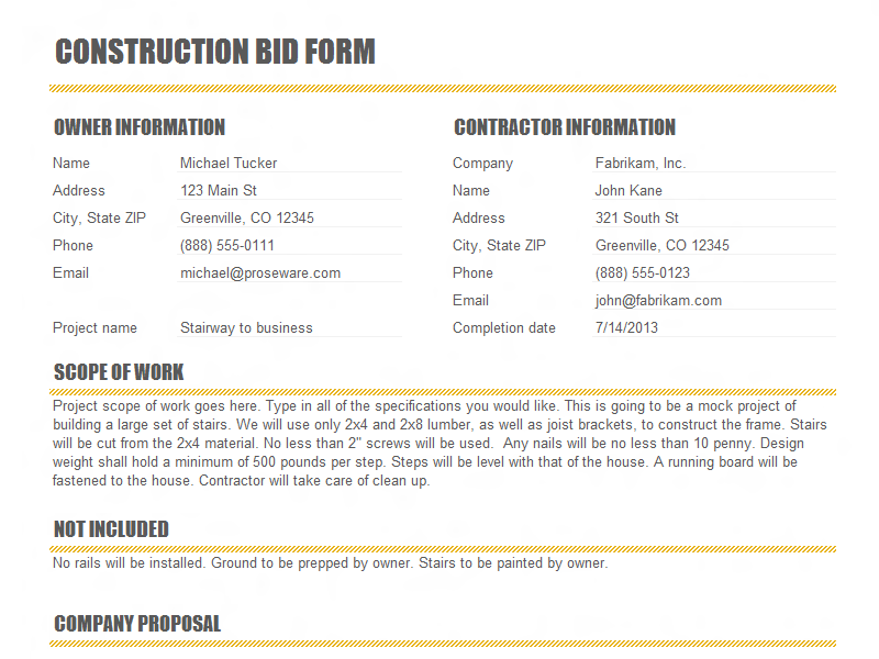 Construction Proposal Form Construction Bid Form Office Templates,  Printable Sample Construction Proposal Template Form Real Estate, Bid Form  Bid Proposal ...  Proposal Form Template