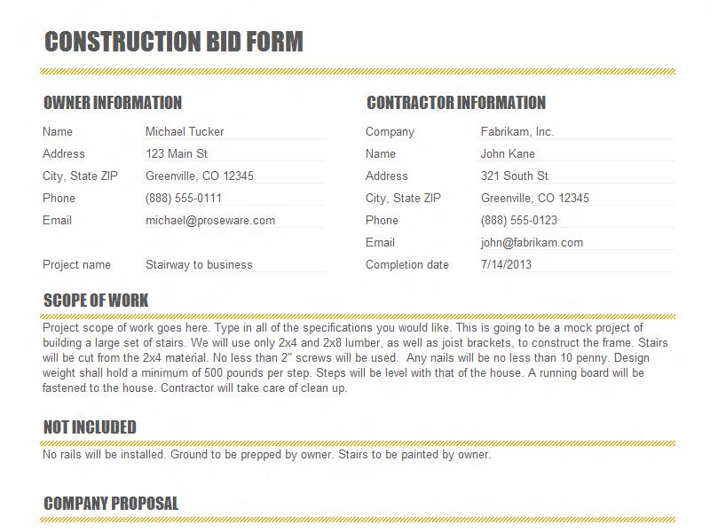 construction form templates
