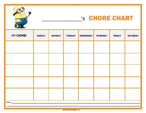 Free Printable Minions Chore Chart  Parenting