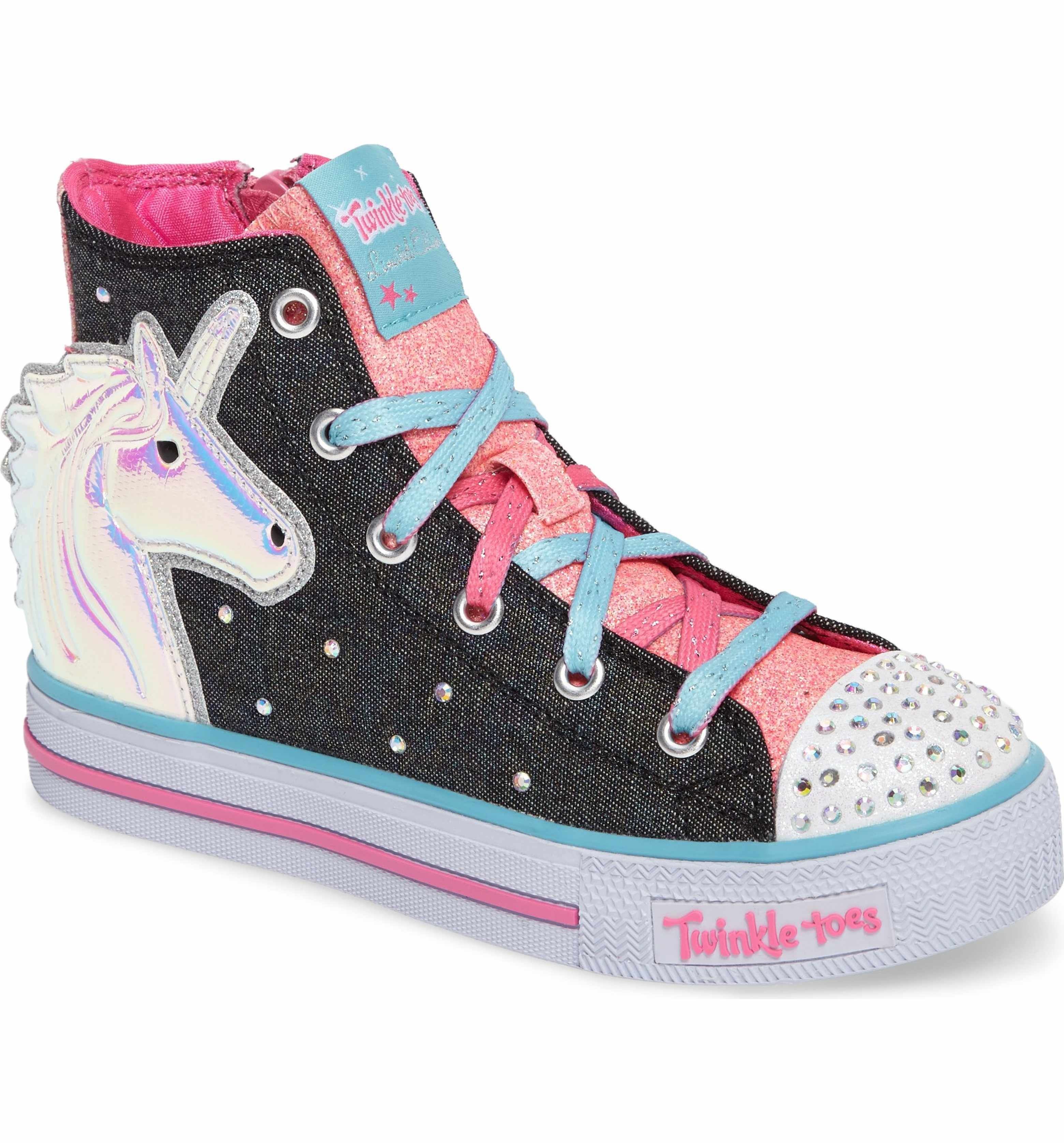 d46190859395 Main Image - SKECHERS Twinkle Toes Shuffles Prancing Pretty Light-Up Sneaker  (Toddler