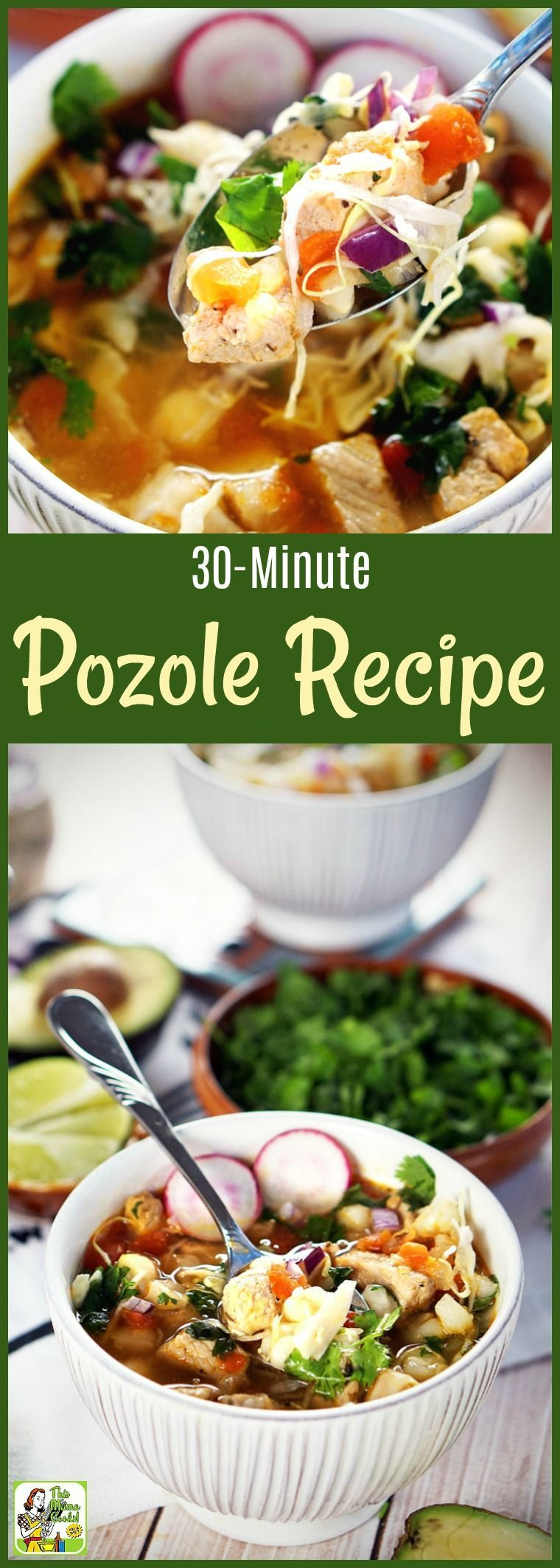 to know how to make pozole in less than 30 minutes? This pork pozole recipe combines pozole verde and pozole rojo. Can be made with chicken, too.