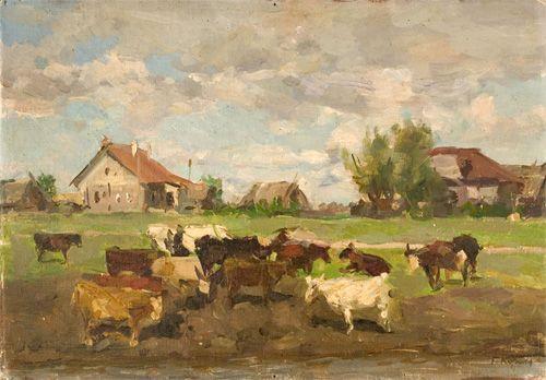 Gennady  Korolev - Herd. - Oil on Panel - 1957