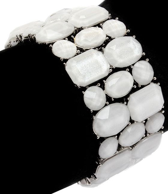 A perfect arm party addition. White stone bracelet