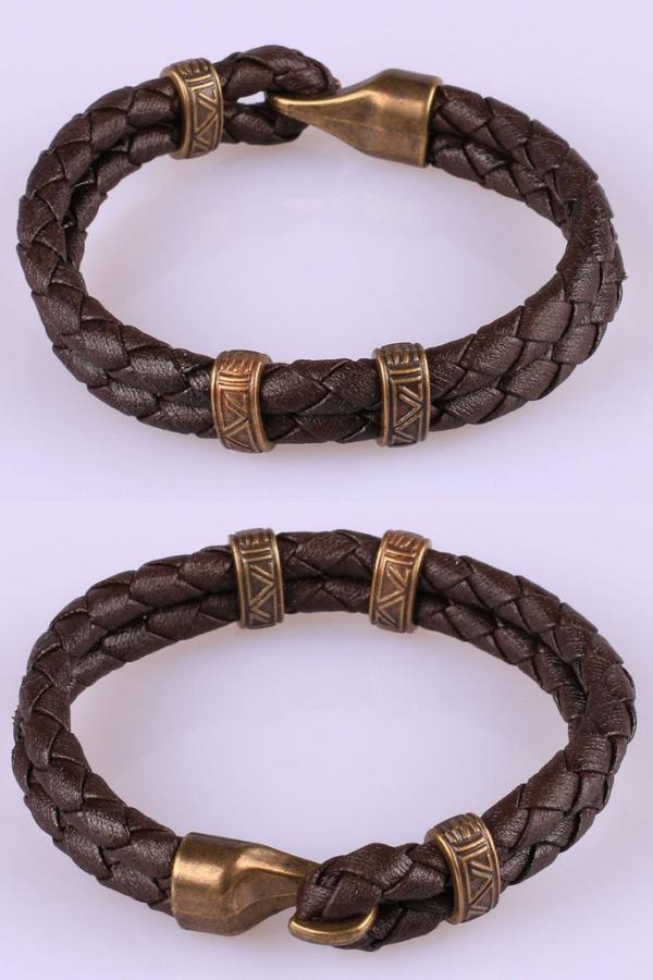 0d34819fa2b48 Valentines day gift for him, Leather bracelet, Mens Leather Bracelet ...