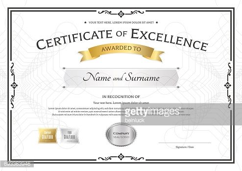 Vector Art  Certificate Of Excellence Template With Vintage Border