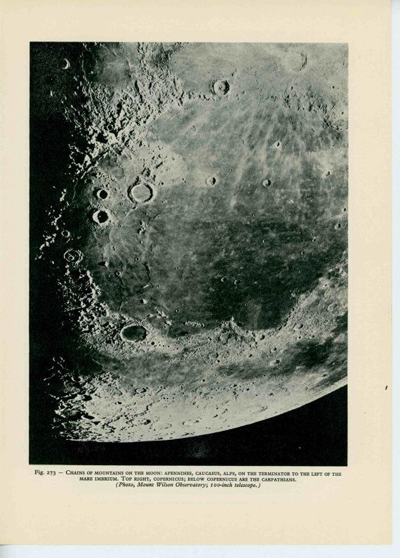 1959 Moon Lunar Landscape Lithographie Original Vintage Druck Etsy Vintage Astronomy Prints Astronomy Planets And Moons