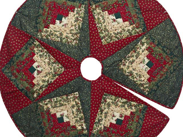 images quilted christmas tree skirts   Lone Star Log Cabin Quilt ...