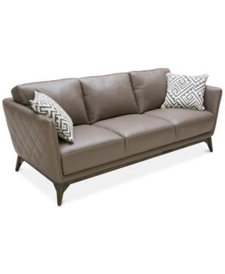 Superb Kourtney Quilted Side Mushroom Leather Sofa | Macys.com Close Out. 87/36