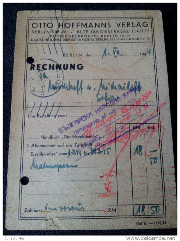 ULTRA RARE 1944 RECHNUNG DEUTSCHE BANK BERLIN OTTO