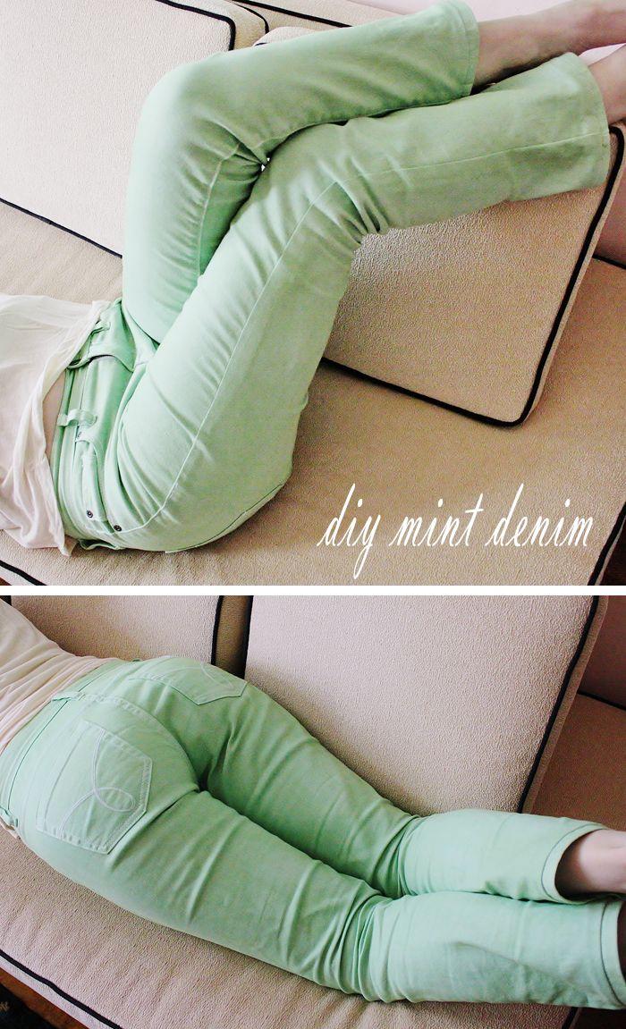 diy dye colored mint green jeans