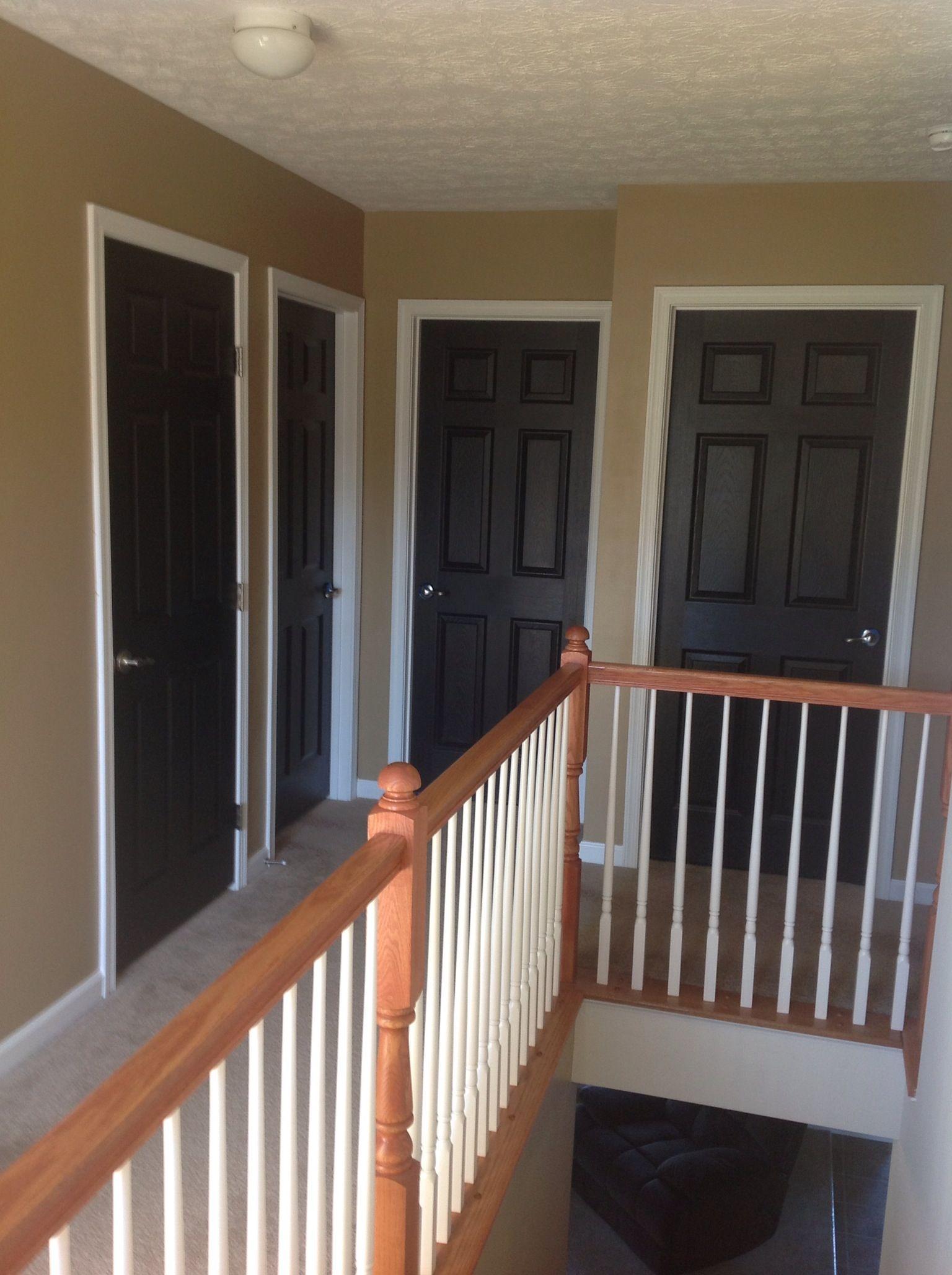 Black doors,white trim, white ceilings...winter project