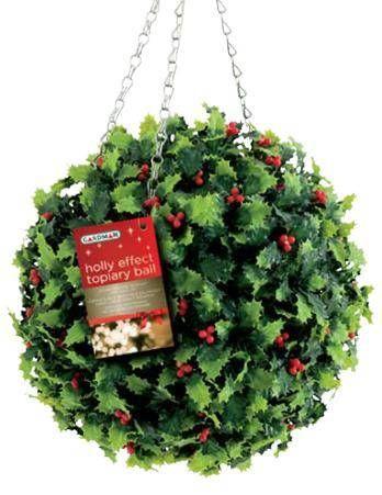 Gardman Christmas Holly Effect Topiary Balls for Sale Christmas