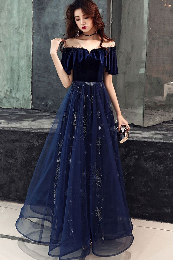 Dark blue tulle lace long prom dress, blue evening dress from of girl