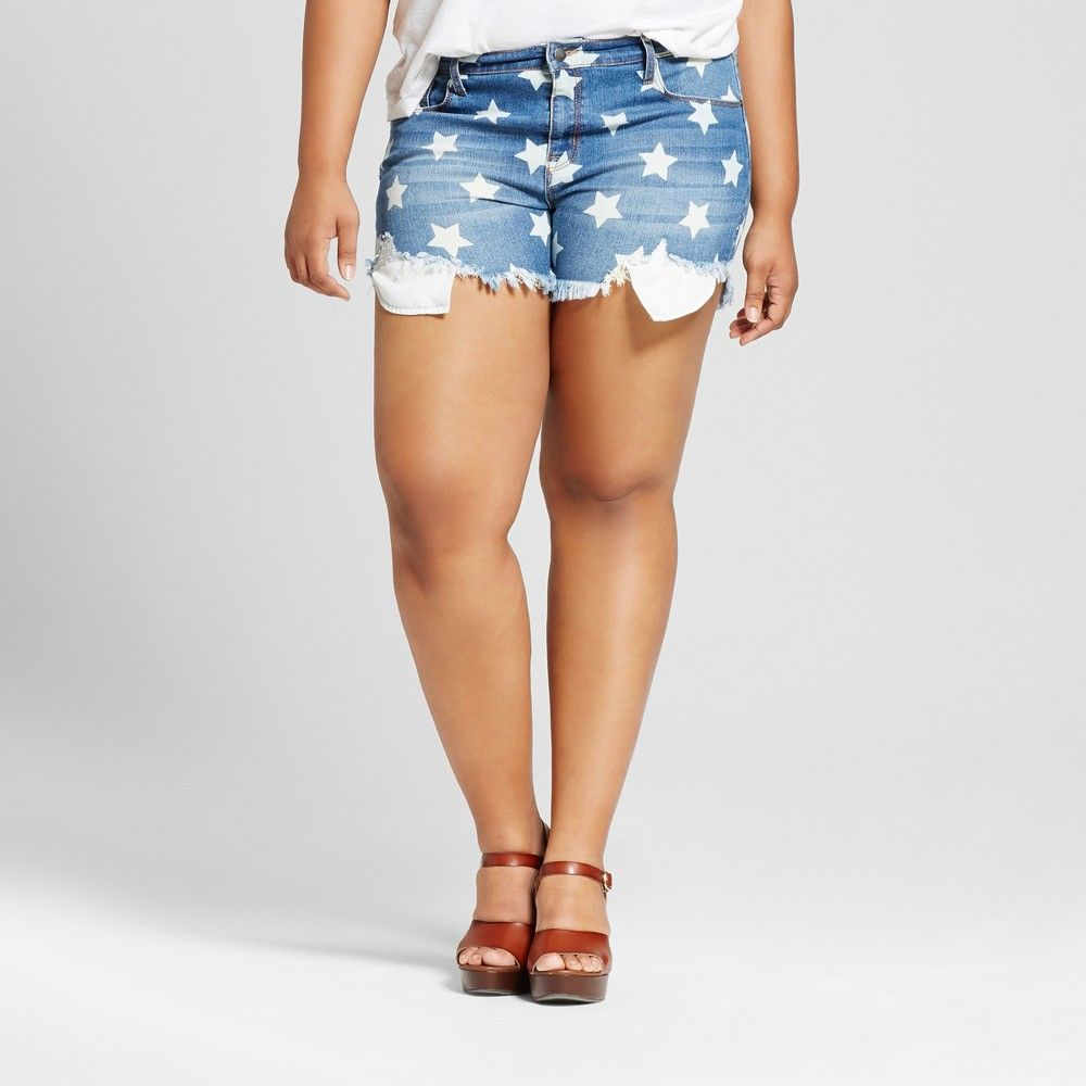 6284f5e3e20 Women s Plus Size Star Print Denim Midi Shorts - Ava   Viv Blue 24W ...