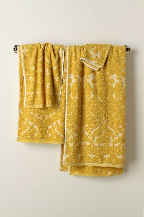 Beautiful Vintage Inspired Mustard Towels From Anthro Yellow Towels Yellow Hand Towels Anthropologie Towels