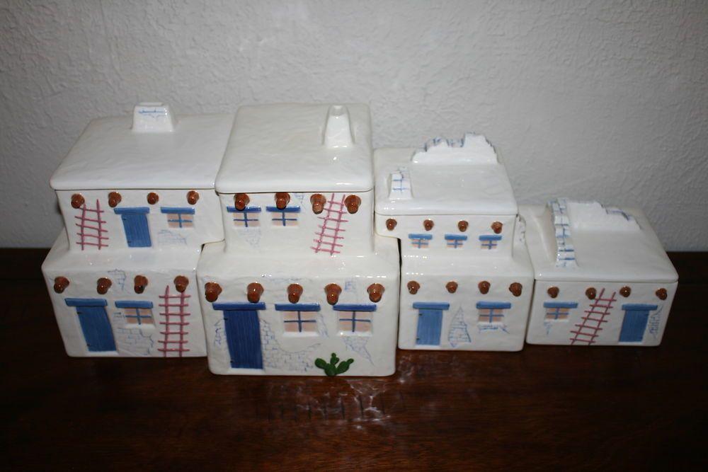 Pueblo Adobe House Ceramic Canister Set