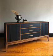Schwarz Und Holz Mitte Jahrhundert Moderne Anrichte Vintage Modern In 2020 Diy Modern Furniture Mid Century Modern Credenza Mid Century Modern Furniture