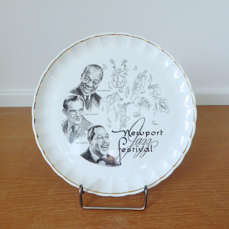 1958 Newport Jazz Festival collectible dish Louis Armstrong Benny Goodmanu2026 & 1958 Newport Jazz Festival collectible dish Louis Armstrong Benny ...