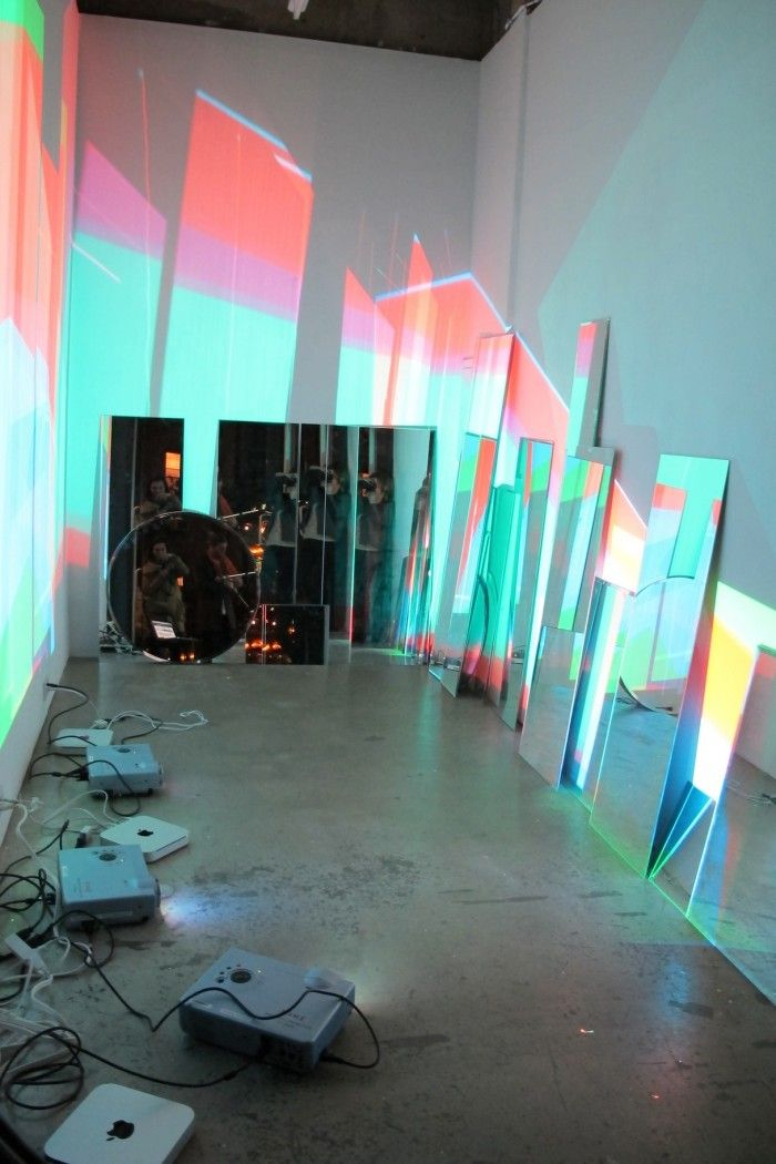 Mirrors, projectors, reflected light! #lightartinstallation