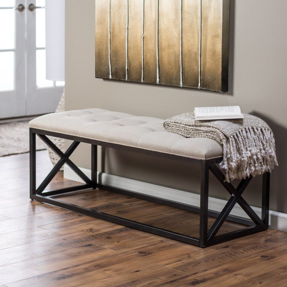 Metal Indoor Bench Seat Using White Tufted Bench Cushion On