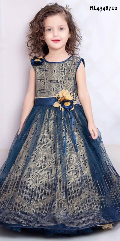 1f1e8d8345385 Delightful #Blue Beautiful #Frock Style #Gown for Festival. Sky Blue #Kids  Girl Gown has Print Work. It is #Crepe Gown. #Gown #Designer #Dresses  #Worldwide ...