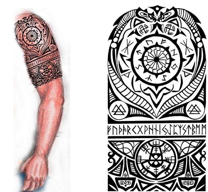 Norse Half Sleeve Tattoo Viking Tribal Tattoos Traditional Viking Tattoos Nordic Tattoo