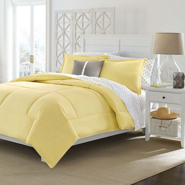 Twin Size Cotton Comforter In Solid Yellow Machine Washable