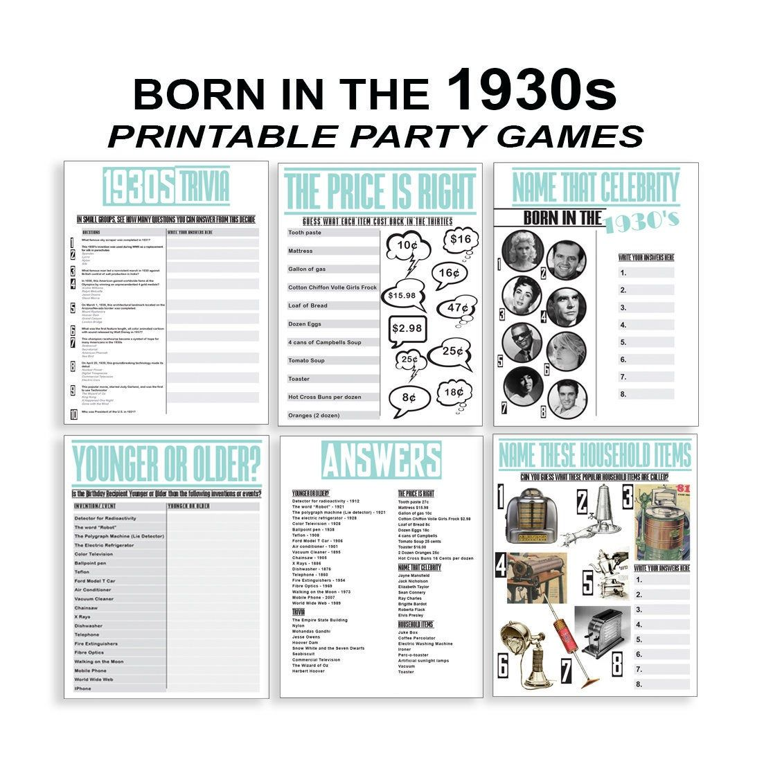 Born In 1930s 90th Birthday Party Games 90th Birthday Games 90