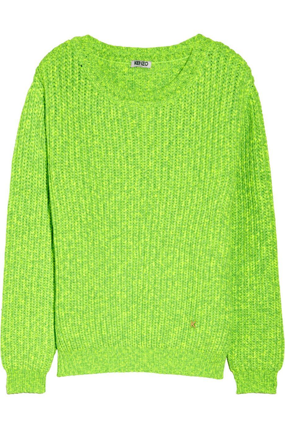 306cf271 KENZO | Neon chunky-knit sweater | NET-A-PORTER.COM | Trend: Bright ...