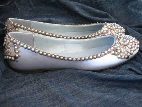 Royal Ivory Bridal Ballet Flats Wedding Shoes