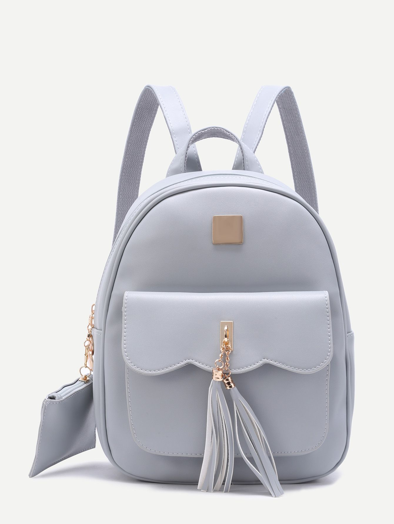Shop Grey Embellished Pocket Front PU Backpack online. SheIn offers Grey  Embellished Pocket Front PU Backpack   more to fit your fashionable needs. f28e9ba6c8d36