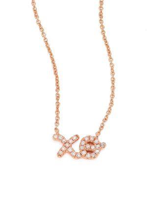 Sydney Evan 14k Diamond XO Pendant Necklace fwdQfE