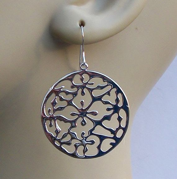 Silver Dangle Earrings on 925 Sterling Silver by PeriniDesigns