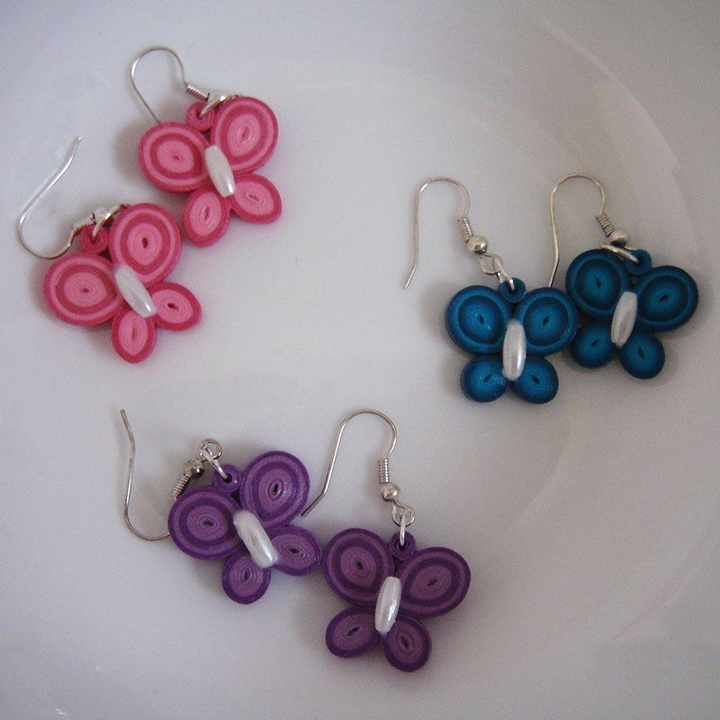 Quilling Earring Designs Butterfly : Quilling butterfly earrings DIY Pinterest Quilling, Butterfly earrings and Quilling earrings