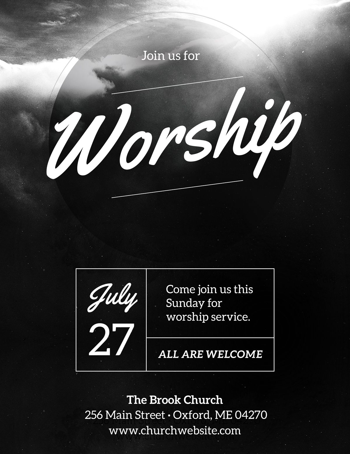 diy church event flyer template - heavenly worship