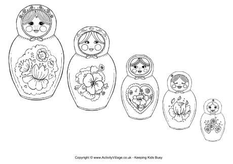 Matryoshka dolls coloring page. Others available also